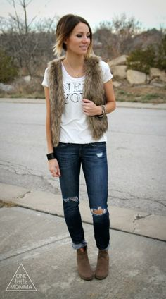 Easy, no-fuss ways to wear a fur vest this winter #fallfashion #style #howto
