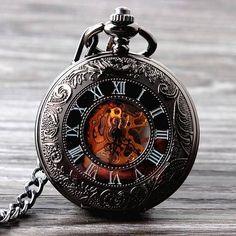 New Cool Hand Wind Mechanical Pocket Watch Skeleton Watches Fashion Men Watch Vintage Pocket Watch - Hespirides Gifts