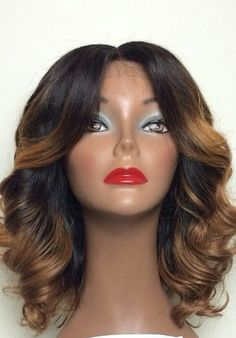 Ombre curly medium length hairstyle
