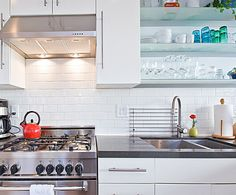 Subway Tile paired with Caesarstone Raven counterops.