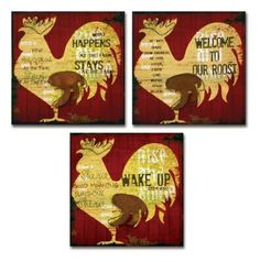 Amazon.com: Melrose International Canvas Rooster Decorative Wall Art, 15-1/2 Square Inch, Set of 3: Furniture & Decor