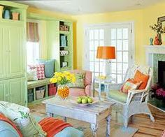 Spring is all about light and bright colors! This room has hints of orange and yellow!