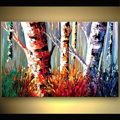 Canvas Art, Modern Wall Art, Stretched, Embellished & Ready-to-Hang Print - Playful Forest - Art by Osnat Canvas Painting Landscape, Forest Art, Tree Art, Oeuvre D'art, Canvas Art Prints, Canvas Canvas, Cool Art, Art Photography, Abstract Art