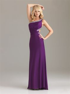 Simple Column Floor Length One-shoulder Crossing Belt Purple Pd1196 Sequins Trailing Prom Dress Online