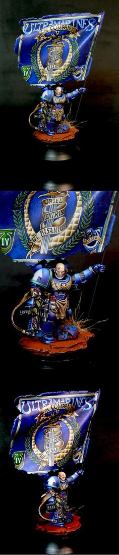 Warhammer 40k, Ultramarines Space Marines Standard Bearer/Sergeant, spectacular lighting work all over this model, and way to go all-out on a Chapter Banner!