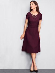 Dot-Textured Cloqué Dress - Talbots