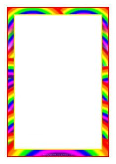 Rainbow-Themed Page Borders Printable Border, Printable Lined Paper, Printable Recipe Cards, Printable Labels, Page Boarders, Boarders And Frames, Page Borders Free, Binder Covers Free, Powerpoint Background Templates