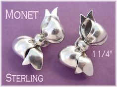 "Monet - Sterling Silver Pretty Bow 1 3/8"" Clip Earrings - Use as Shoe Clips or Cufflinks - 12.10 Grams - Estate Antique - FREE SHIPPING by FindMeTreasures on Etsy"