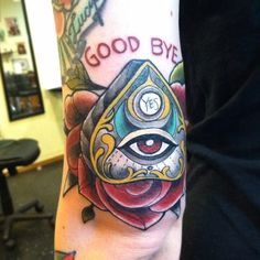 """fuckyeahtattoos: """"Ouija planchette piece done by Laura Flickinger at G. Tattoo in Findlay, Ohio. """""""