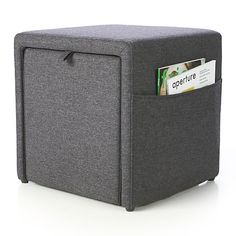 Stash Grey Storage Ottoman in Ottomans & Cubes | Crate and Barrel