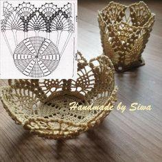 ~Crochet bowl and pot~ Crochet Cup Cozy, Crochet Bowl, Crochet Chart, Thread Crochet, Crochet Motif, Crochet Doilies, Diy Crochet Basket, Crochet Basket Pattern, Crochet Storage