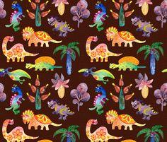 Dinosaurs fabric by nellik on Spoonflower - custom fabric