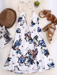 SHARE & Get it FREE | Thin Strap Floral Skater Sun Dress - WhiteFor Fashion Lovers only:80,000+ Items • New Arrivals Daily Join Zaful: Get YOUR $50 NOW!