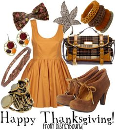 Thanksgiving Inspired Outfit by DisneyBound. #autumn #fashion #accessories