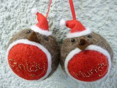 Personalised Handmade Needle Felted Bauble Robin Christmas Tree Decoration made from British Shetland sheep wool