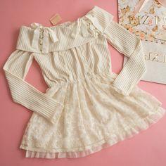 NWT Knit Peplum Tunic Dress LIZ LISA Corset tie Romantic Street Lolita Hime #LizLisa #Peplum #Shibuya109Lolitafashion Liz Lisa, Corset, Online Price, Peplum, Cold Shoulder Dress, Tunic, Kawaii, Romantic, Knitting