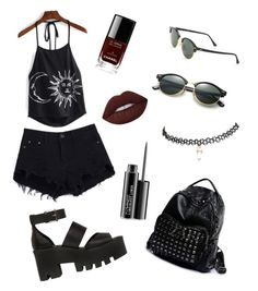 """""""Summer goth"""" by mememememememememememe ❤ liked on Polyvore featuring Windsor Smith, Ray-Ban, Wet Seal, Chanel, Lime Crime and MAC Cosmetics"""