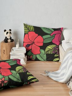 """""""Tropical Flowers Illustration"""" Floor Pillow by Floor Pillows, Throw Pillows, Tropical Flowers, Sell Your Art, Pillow Design, Vibrant, Cushions, Tapestry, Flooring"""