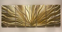 It is my pleasure to offer you this hand-painted original, signed Transcendence of Light multiple panel original metal abstract wall sculpture. I