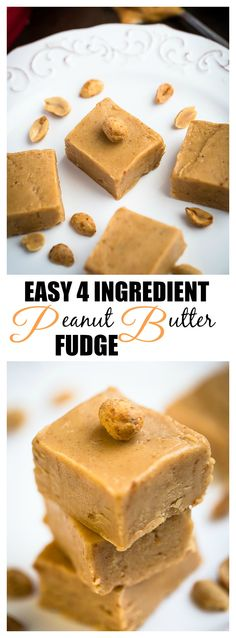 Easy 4 Ingredient Peanut Butter Fudge makes the perfect sweet treat for the holidays! SO easy using your microwave or stovetop and the best sweet treat to gift to family and neighbors!