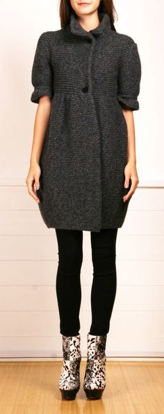cozy, chunky knit sweater/jacket/tunic/coat. great design. wear forever. wardrobe maker. casual. office. evening (left open over satin & sparkle w/ awesome shoes & jewelry). (Stella McCartney)