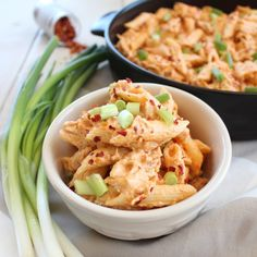 Shredded chicken is added to a spicy, cheesy buffalo sauce and tossed with penne pasta for a creamy, delicious Buffalo Chicken Cheesy Penne Pasta Recipe.