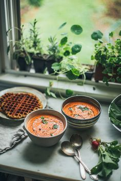 Get the recipe for the BEST Creamy Vegan Tomato Soup! Made with coconut milk and pasta sauce. Plus a savory grain free vegan almond waffle for dipping!