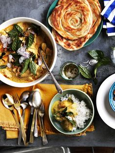 Thai chicken and bamboo-shoot yellow curry with roti and rice recipe