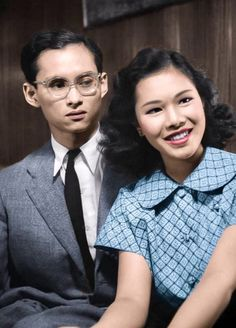 Portrait of king Bhumibol Adulyadej of Thailand years old), aka Rama IX, with his future wife Sirikit Kitiyakara years old) in Pully, Switzerland in 1949 - The king had suffered a heavy automobil accident in 1948 which he has not yet recovered. King Phumipol, King Rama 9, King Of Kings, King Queen, Laos, King Thai, Thailand, Queen Sirikit, Bhumibol Adulyadej