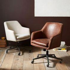 Helvetica Desk Chair, Antique Bronze, Linen Weave, Natural