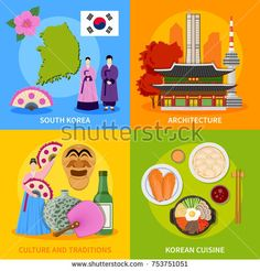 Stock Photo: Korean culture traditions symbols cuisine map and landmarks 4 flat icons square poster abstract isolated illustration