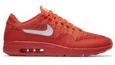 Nike's Air Max 1 Ultra Flyknit in orange.