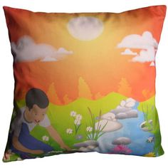 Bold Orange Handmade Graphic Throw Pillow - Boy playing by the river