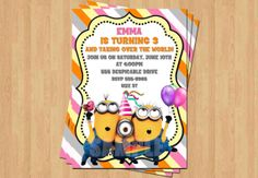 Despicable Me 2 Minions Cute Girl Birthday Party Personalized Invitation .JPEG File on Etsy, $10.00