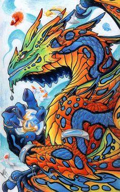 Dragon with the color scheme of a Mandarin fish. Mandarin Dragon w/ Koi and Bettas Dragon Images, Dragon Pictures, Dragon Pics, Dragon Heart, Butterfly Dragon, Fantasy Creatures, Mythical Creatures, Dragon Artwork, Dragon Drawings