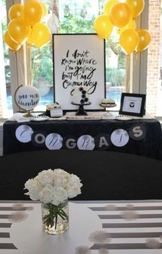 Black and white graduation party! See more party planning ideas at CatchMyParty.com!