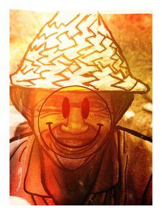Bij deze afbeelding heb ik een smiley vervormd in het gezicht. Ook heb ik de foto lichter gemaakt, want de foto zelf is erg donker.