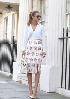 embellished pencil skirt with white top