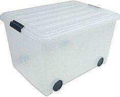 Merveilleux Iris 56 Quart Clear Plastic Storage Box With Wheels