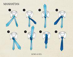 The Manhattan Knot Mens Ties Crafts, Tie Crafts, Tie Knot Steps, Windsor Tie Knot, Tie A Necktie, Necktie Knots, Manhattan, Paracord Knots, Ties