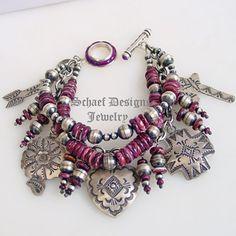 Schaef Designs, Rocki Gorman & Vince Platero Native American Sterling Silver & Purple Spiny Oyster Shell Charm Bracelet