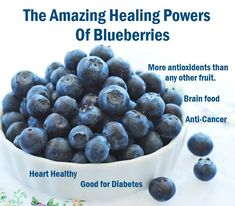 "Blueberries help protect you from cancer, keep your heart and brain healthy and even help you lose weight. I love their taste and consider them a superfood. ""Have blueberries whenever you are low – destiny will change Blueberry Juice, Blueberry Crumble, Healthy Oils, Healthy Fruits, Growing Blueberries, Human Nutrition, Superfood Recipes, Crumble Recipe, Eating Organic"