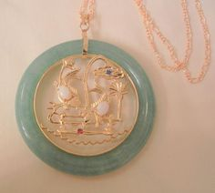 Gorgeous Asian Perking glass double koi fish opal Small sapphire Ruby stone pendent with 18K GF Necklace