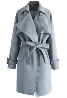 Cool grey! Step out in this subtly hued trench coat with its textured belt 4a2f7e7f3d3