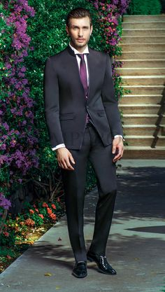 BA 50065-17 #sposo #groom #suit #abito #wedding #matrimonio #nozze #nero #black #violet #viola