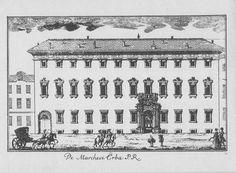 """Palazzo Erba Odescalchi, via Unione, Milano. Marc'Antonio Dal Re, """"Vedute di Milano"""", incisione 74 (ca. 1745)."""