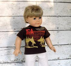 American Girl Boy Doll Clothes Surfer T-Shirt, 18 inch Boy Doll Summer Shirt, Upcycled Boys Shirt