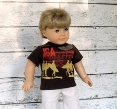 American Girl Boy Doll Clothes Surfer T-Shirt, 18 inch Boy Doll Summer Shirt, Upcycled Boys Shirt