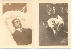 1925 Post Mortem Open Casket Funeral Photo Lot - Chattanooga TN Death Photograph