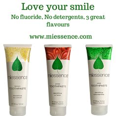 Miessence Certified Organic's #Toothpastes are free from artificial colours, flavours, fluoride, aluminium and detergents